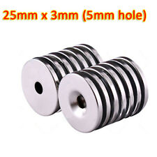 25mm X 3mm 5mm Hole Rare Earth Diy Strong Ring Neo Neodymium Disc Round Magnet