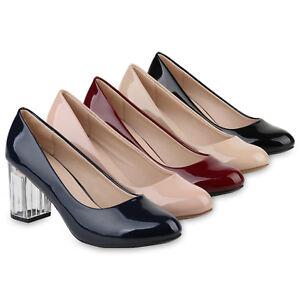 Details zu Damen Pumps Klassische Pumps Lack Transparenter Blockabsatz Schuh 817883 Schuhe