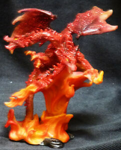 "3 HEADED FIRE Red Dragon H4.5"" Figure Statue"