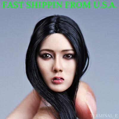 1//6 Asian Female Head Sculpt SHORT BLACK HAIR For TBLeague Phicen SUNTAN Figure