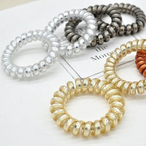 5pcs//set Spiral Elastic Hair Tie Wire Coil Hair Bands Rope Ring Ponytail Holder