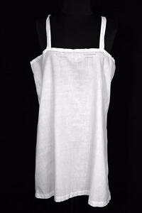 VERY-RARE-FRENCH-EDWARDIAN-1920-039-S-SHORT-COTTON-SLIP-WITH-EMBROIDERY-SIZE-LARGE