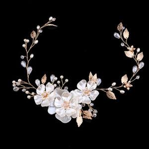 New-Women-039-s-Vintage-Gold-Leaves-3D-Flowers-Wedding-Hair-Vine-Brides-Girls-Prom