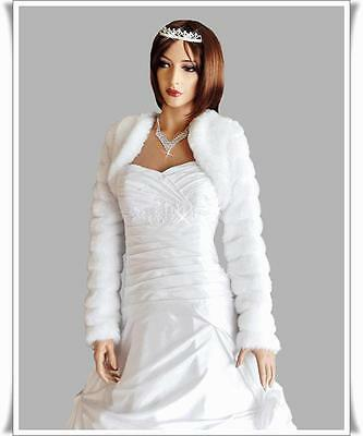 NEW WEDDING/BRIDAL FAUX FUR SHRUG/BOLERO/JACKET/COAT S-M-L-XL-XXL)