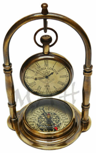 Nautical Clock Ship Table Clock Brass Desk Clock Maritime Brass Compass Pocket W