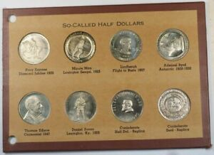 Collection-of-8-So-Called-Half-Dollars-Tokens-in-Booklet-Good-Condition-GH