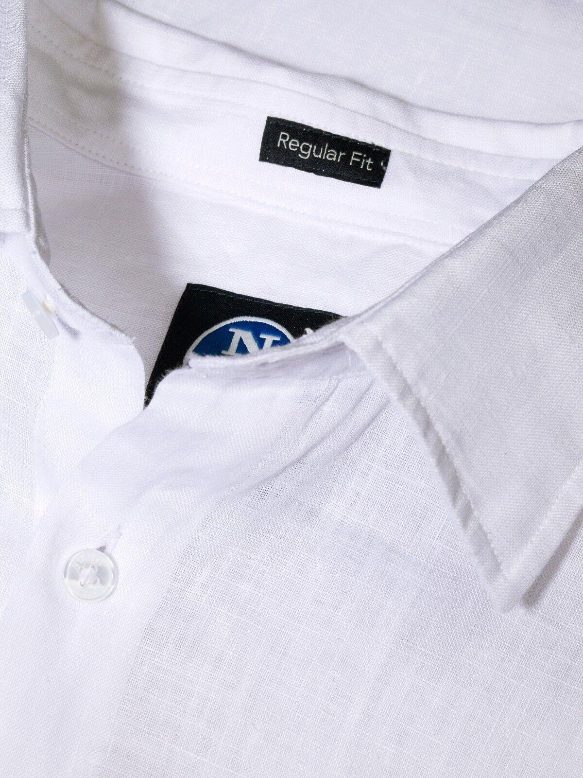 d002eaaca3 Camicia di lino da uomo bianca North North North Sails manica lunga ...
