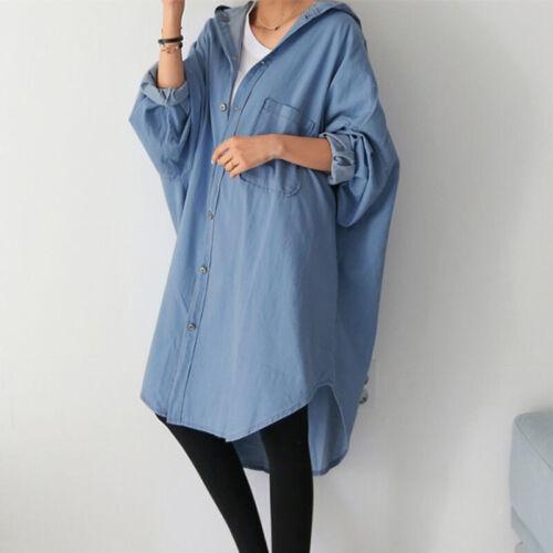 ZANZEA 10-24 Women Oversized Coat Outerwear Cardigan Overcoat Denim Tunic Jacket