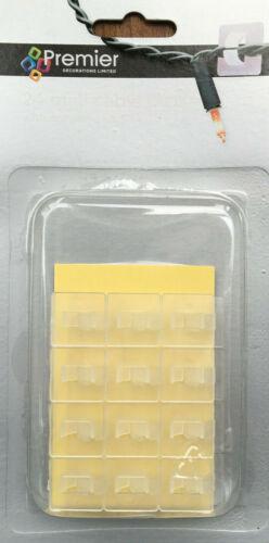 24 x Premier Mini Câble Clips avec adhésif Pad X-MAS Lumières la décoration intérieure
