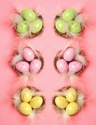 6 Mini Speckled Eggs in Nest Cute Easter Decoration Art Craft Bonnets Feathers