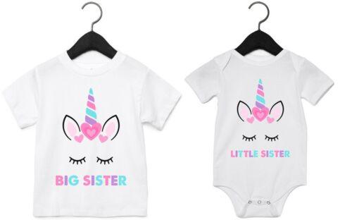 Big Little Sister Unicorn T-Shirts Bodysuits Printed Baby Toddler Matching Girls T-Shirts & Tops