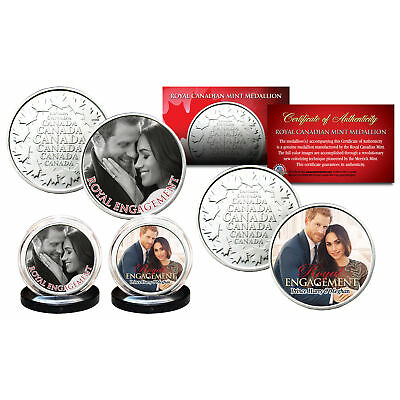 PRINCE HARRY & MARKLE Royal Engagement RCM Medallions OFFICIAL PHOTOS 2-Coin Set