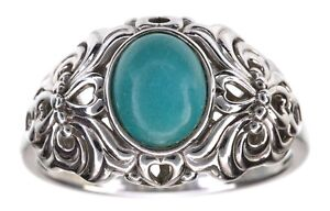Sterling-Silver-Turquoise-gemstone-Oval-shape-Ring-Size-9