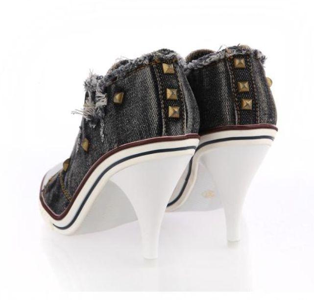 Designer Damen Stoffschuhe Schnürpumps Stiletto mit Nietenverzierung Leinenschuh