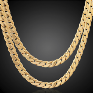 18k-Gold-Kette-vergoldet-Halskette-Panzerkette-Schmuck-Herren-Maenner-Edelstahl