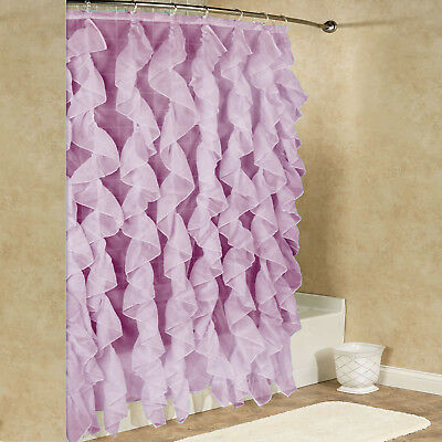 "Cascade Chic Sheer Voile Vertical Waterfall Ruffled Shower Curtain 70"" x 72"""