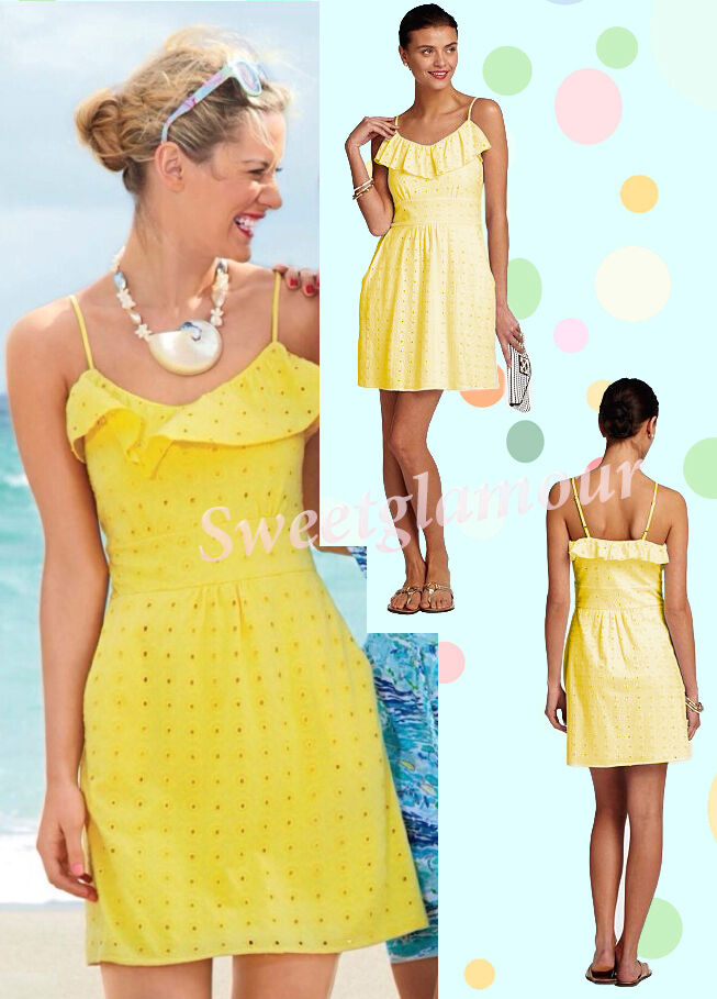 Lilly Pulitzer Carreen Dandelion Gelb Sweet As Sugar Eyelet Jersey Dress
