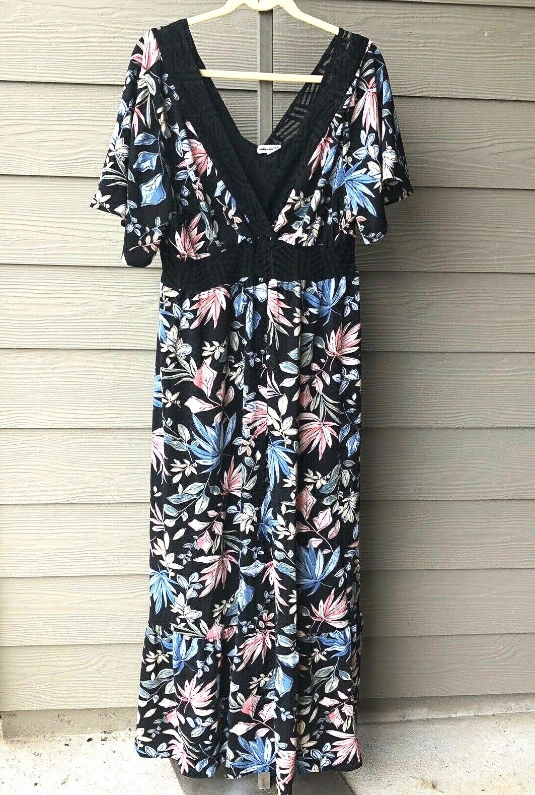 KIYONNA  3 3X floral maxi dress boho Daydream schwarz lace trim v-neck new 22 24
