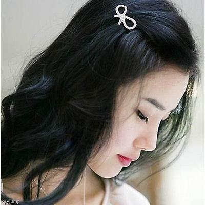 Sweet Women Girl Elegant Hairpin Full Diamond Bowknot Silver Barrette Hair Clip