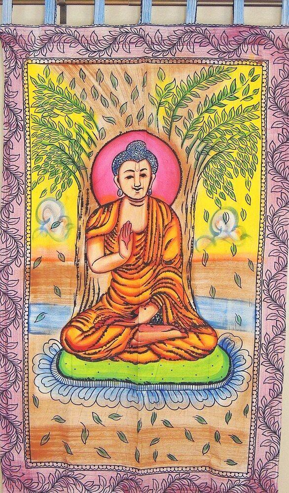 Méditant Bouddha coton tapisserie tissu fait main grande décoration murale suspendue