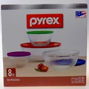 pyrex 8 piece clear glass mixing bowl set w colored lids ebay. Black Bedroom Furniture Sets. Home Design Ideas