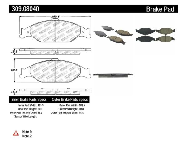 High Friction 309.04730 FRONT SET Stoptech Sport Performance Disc Brake Pads