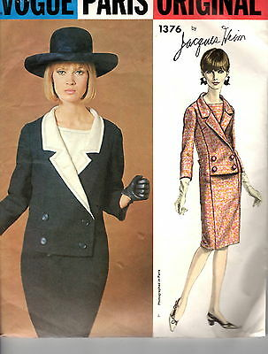 1960s Vintage Vogue Paris Original by Jacques Heim Pattern DRESS 1376 Sz 12