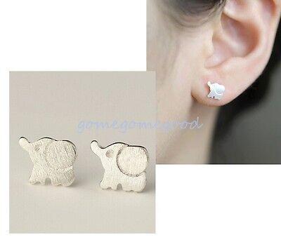 925 Sterling Silver - Elephants Cute Little Animal Club Stud Earrings Hot