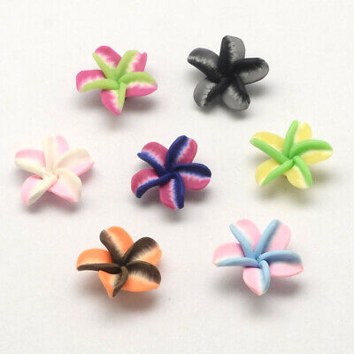 200 pcs Handmade Polymer Clay 3D Flower Beads Mixed Color 25~26x11mm Hole 2mm