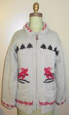 Eddie Bauer Sweater Womens S/P LEGENDS SKI MOTIF Cardigan Wool