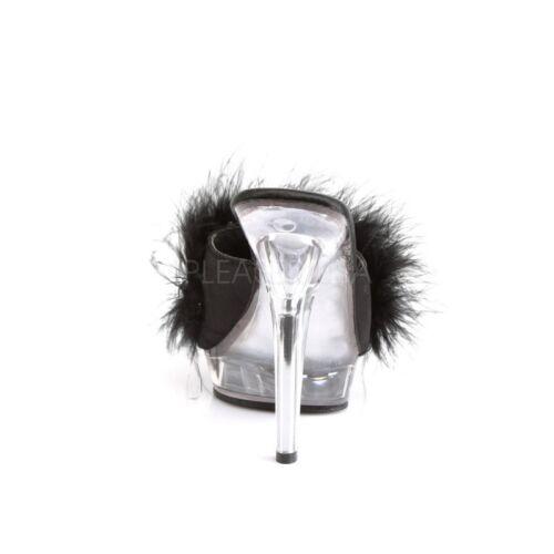 FABULICIOUS Lip-101 Mini-Plateau Pantolette Klar Schwarz Federn Tabledance Hot .