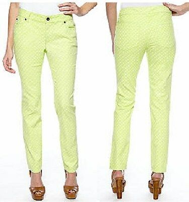 Vince Camuto TWO Bright Aloe Green Straight Leg Polka Dot Stretch Jeans - $99