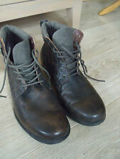 Brown Leather Combat Zip Up Ankle Cowboy Military Army Biker Boots Size 10/44