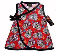 Sugar Skull Punk Rock Red Black Kimono Toddler Baby Girls Dress Pants Diaper