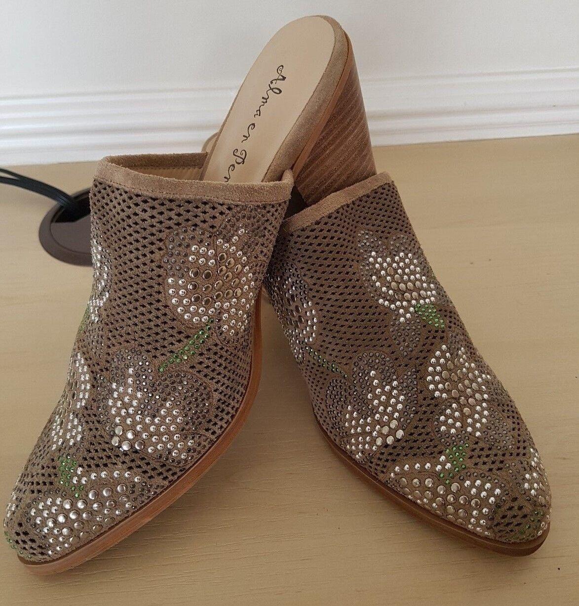Alma en Pena Femme Beige Stone embellir Cuir Mules Sandales Sabots UK 5 EU 38