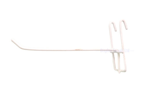 T9 Budget Mesh Panel Single Arm Hooks Prongs in White for Shop Display