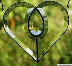 Bleiverglasung-Facetten-Fensterbild-Suncatcher-034-Grosses-Herz-034-in-Tiffany