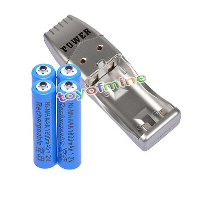 4XAAA 3A 1800mah1.2V NiMH rechargeable battery Blue+USB Charger