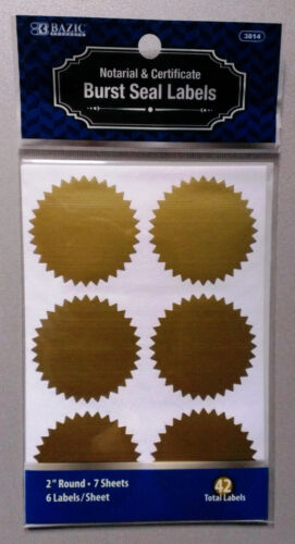 """Notarial /& Certificate Gold Seals 2/"""" Round 42 Pieces NEW Non-shiny"""