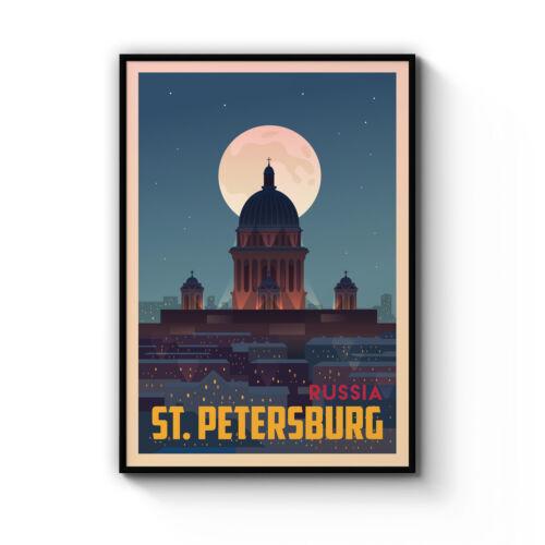 Retro St Petersburg Russia Beach Poster Vintage Art Print Artwork Framed