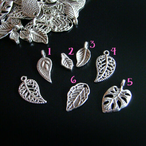 V 10-50 colgantes de color plata hojas hoja Mix Dangle pendant-p00052x8