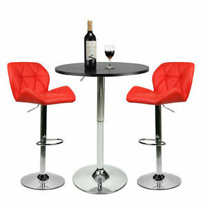 Astounding Details About 3 Pieces Pub Table Set Bar Stools Adjustable Swivel Dining Kitchen Chair Red Theyellowbook Wood Chair Design Ideas Theyellowbookinfo