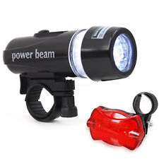 WATERPROOF BRIGHT 5 LED BIKE BICYCLE CYCLE FRONT AND REAR BACK TAIL LIGHT UK HOT