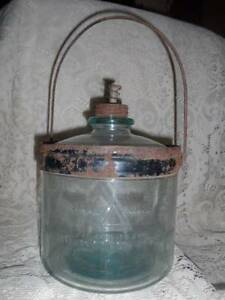 Vtg~Antq Blue Glass Cleveland Metal Prd.Perfection Stove Kerosene Oil Jug Bottle