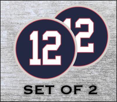 England Patriots 12 Tom Brady Sticker Decal Vinyl SET OF 2 Cornhole Truck Car