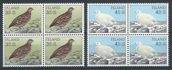 AgréAble Islande 1965 Sc # B19-20 Set Rock Ptarmigan Summer & Winter Bird Blocs 4 Neuf Sans Charnière MatéRiaux De Haute Qualité