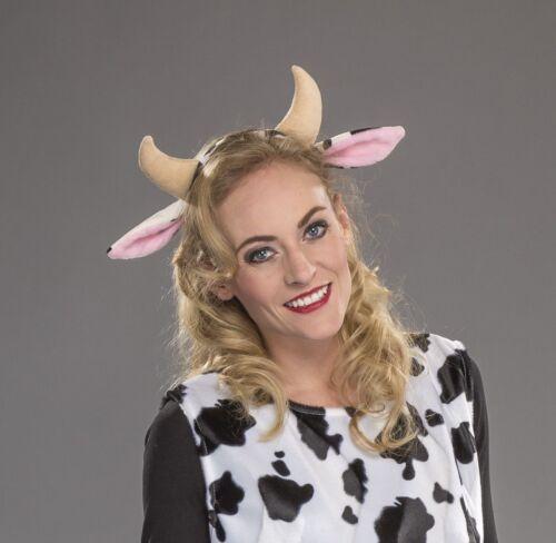 Kostüm Zubehör Haarreif Kuh Hörner Ohren Karneval Fasching FM