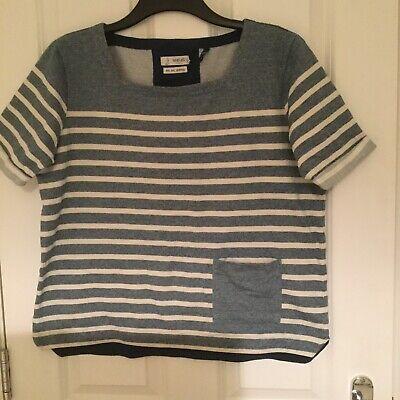 New Seasalt Cousin Jinny Organic Cotton Blue Printed t Shirt Top Uk Size 8-16