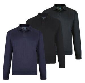 Mens-KAM-Fleece-Button-Up-Rugby-Collared-Sweatshirt-Jumper-Casual-Big-Size-2-6XL