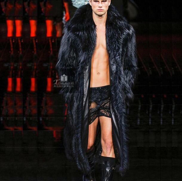 Para hombre de lujo de gran tamaño Parka abrigo  de invierno cálido de piel larga Chaqueta con solapa de  increíbles descuentos